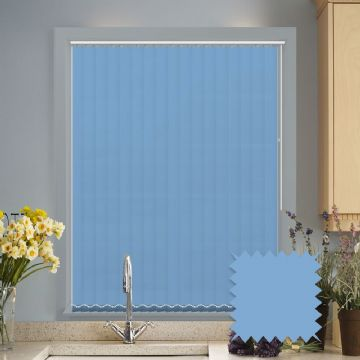 Made to measure light blue vertical blinds in Bermuda plain fabric